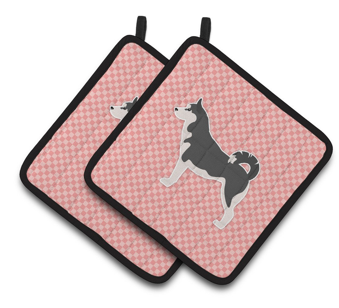 Siberian Husky Checkerboard Pink Pair of Pot Holders BB3680PTHD by Caroline's Treasures