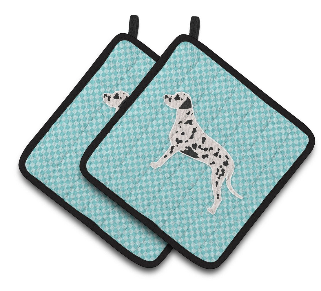Buy this Dalmatian  Checkerboard Blue Pair of Pot Holders BB3683PTHD