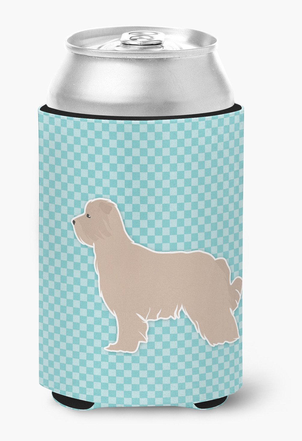 Pyrenean Shepherd Checkerboard Blue Can or Bottle Hugger BB3718CC by Caroline's Treasures