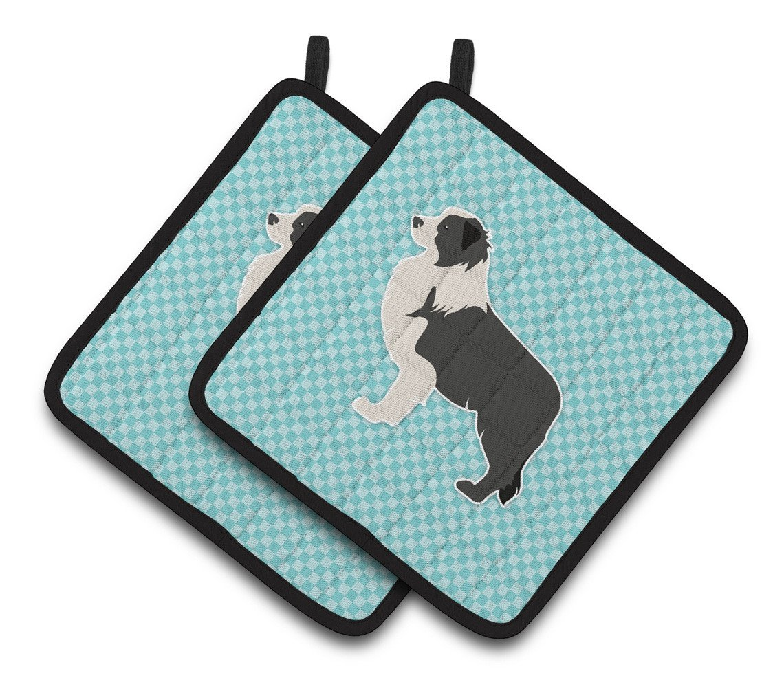 Black Border Collie Checkerboard Blue Pair of Pot Holders BB3723PTHD by Caroline's Treasures