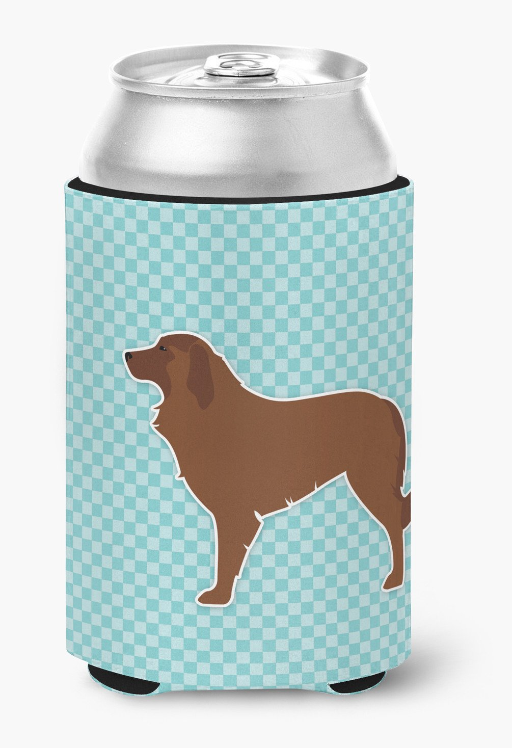Portuguese Sheepdog Dog Checkerboard Blue Can or Bottle Hugger BB3731CC by Caroline's Treasures