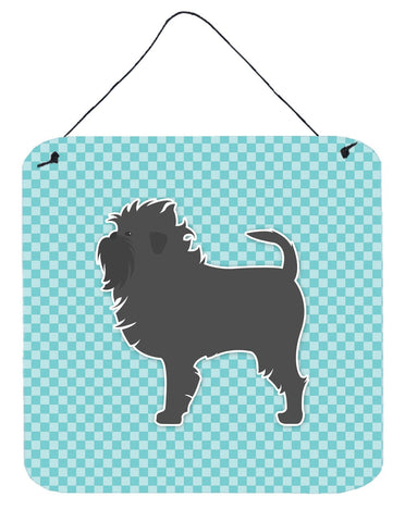 Buy this Affenpinscher Checkerboard Blue Wall or Door Hanging Prints BB3748DS66