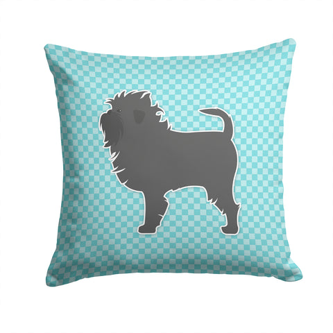Buy this Affenpinscher Checkerboard Blue Fabric Decorative Pillow BB3748PW1414