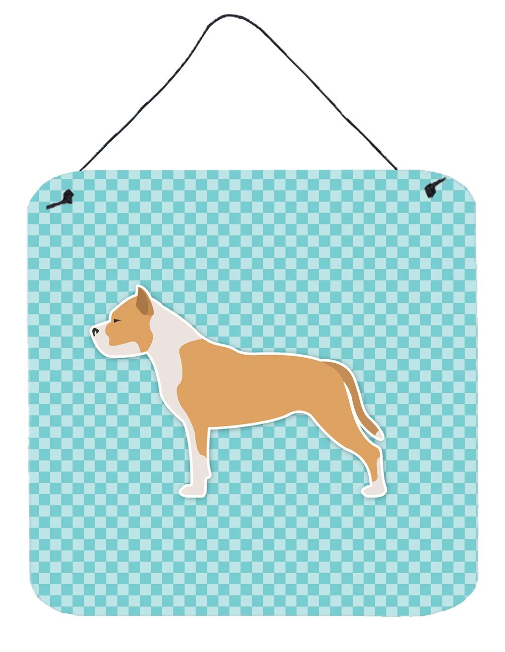 Buy this Staffordshire Bull Terrier Checkerboard Blue Wall or Door Hanging Prints BB3754DS66