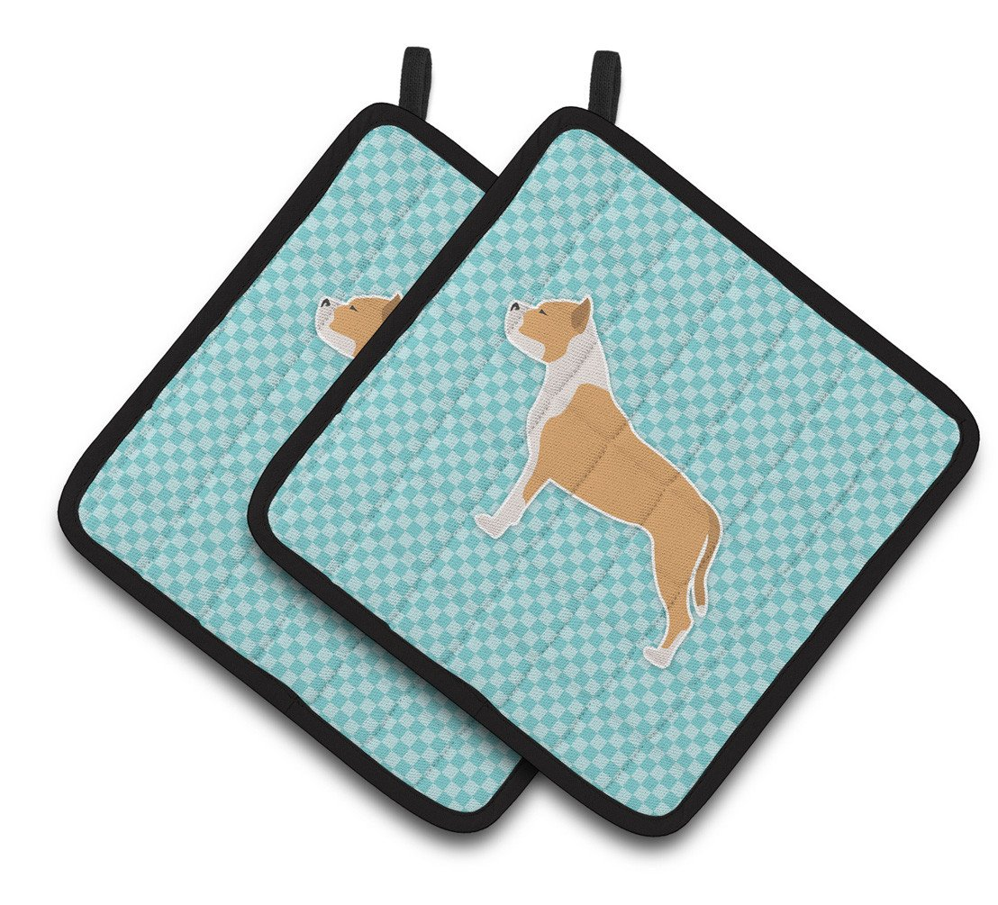 Buy this Staffordshire Bull Terrier Checkerboard Blue Pair of Pot Holders BB3754PTHD