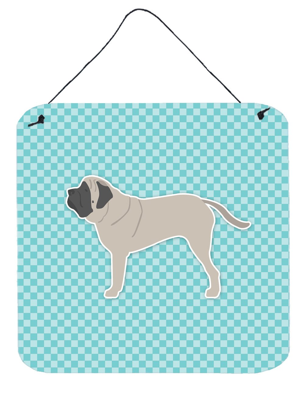 English Mastiff Checkerboard Blue Wall or Door Hanging Prints BB3756DS66 by Caroline's Treasures