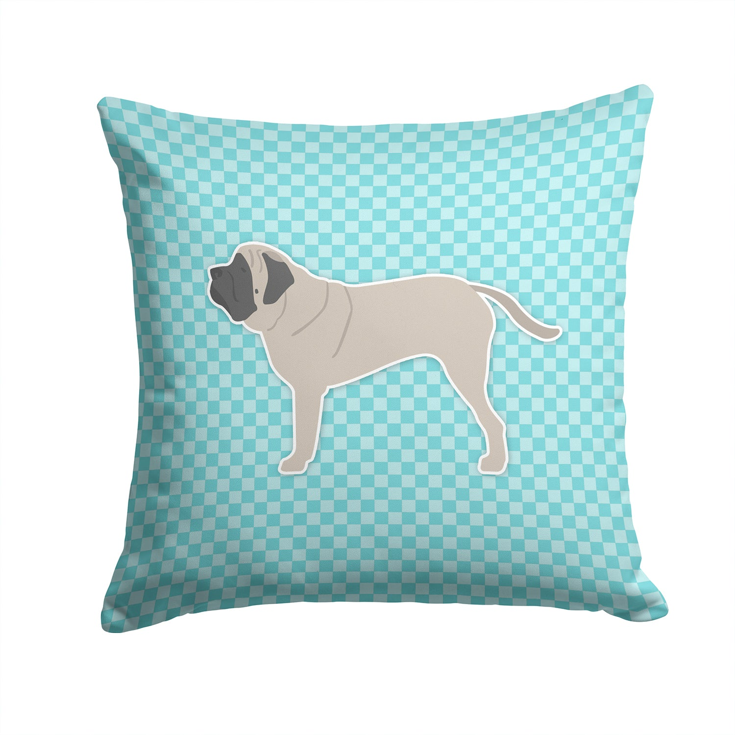 English Mastiff Checkerboard Blue Fabric Decorative Pillow BB3756PW1414 by Caroline's Treasures