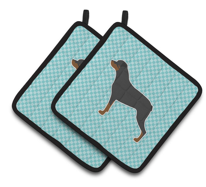 Buy this Rottweiler Checkerboard Blue Pair of Pot Holders BB3766PTHD