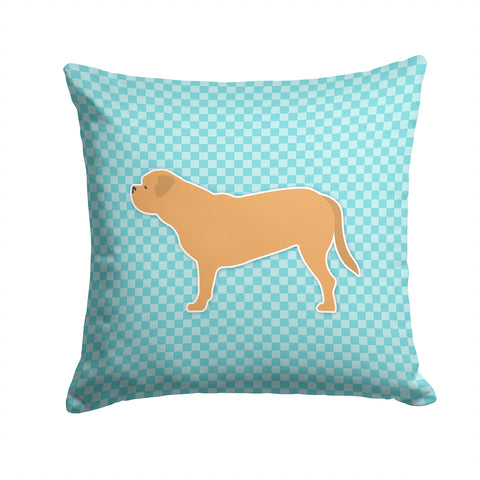 Buy this Dogue de Bordeaux Checkerboard Blue Fabric Decorative Pillow BB3770PW1414