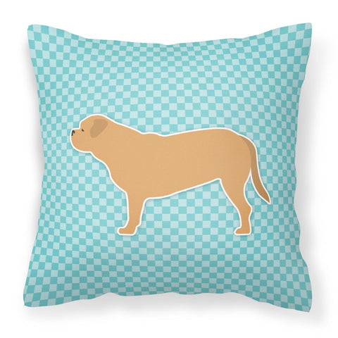 Buy this Dogue de Bordeaux Checkerboard Blue Fabric Decorative Pillow BB3770PW1818