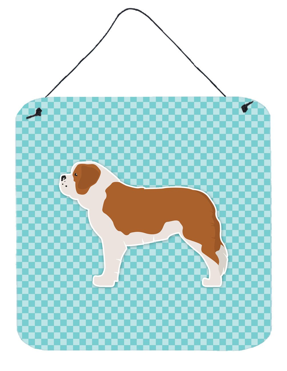 Saint Bernard Checkerboard Blue Wall or Door Hanging Prints BB3776DS66 by Caroline's Treasures