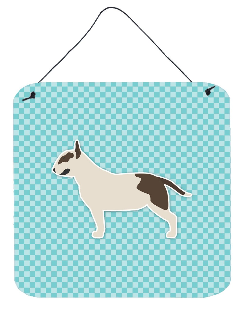 Buy this Bull Terrier Checkerboard Blue Wall or Door Hanging Prints BB3778DS66
