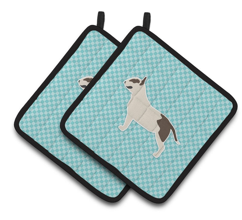 Buy this Bull Terrier Checkerboard Blue Pair of Pot Holders BB3778PTHD