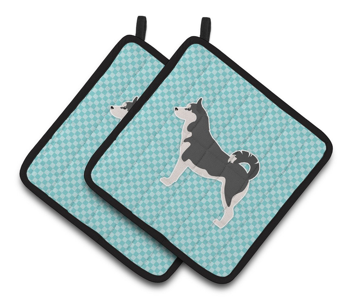 Siberian Husky Checkerboard Blue Pair of Pot Holders BB3780PTHD by Caroline's Treasures