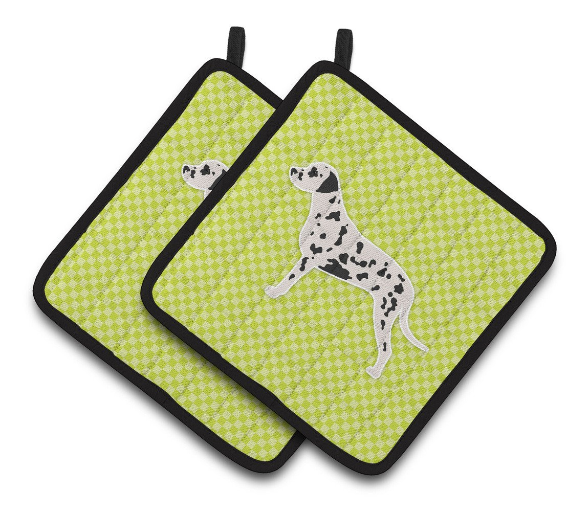 Dalmatian Checkerboard Green Pair of Pot Holders BB3783PTHD by Caroline's Treasures