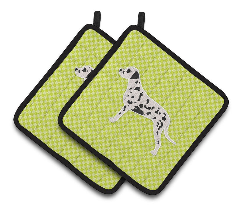 Buy this Dalmatian Checkerboard Green Pair of Pot Holders BB3783PTHD