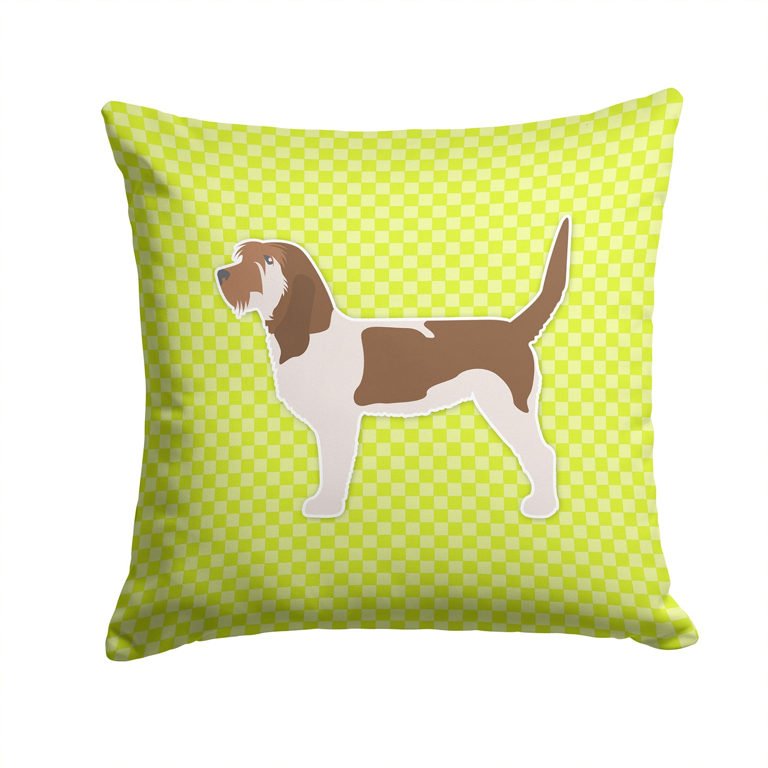 Grand Basset Griffon Vendeen Checkerboard Green Fabric Decorative Pillow BB3790PW1414 by Caroline's Treasures