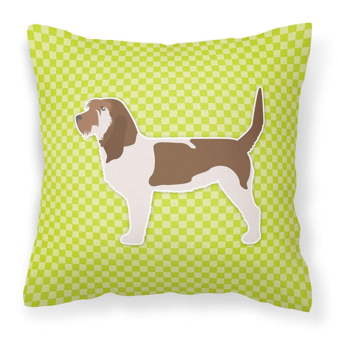 Grand Basset Griffon Vendeen Checkerboard Green Fabric Decorative Pillow BB3790PW1818 by Caroline's Treasures