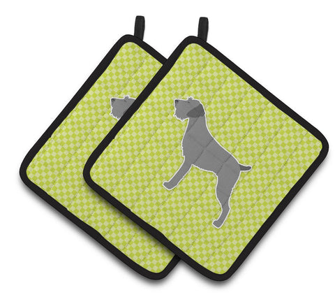 Buy this German Wirehaired Pointer Checkerboard Green Pair of Pot Holders BB3811PTHD