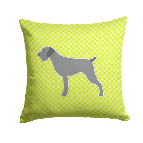 Buy this German Wirehaired Pointer Checkerboard Green Fabric Decorative Pillow BB3811PW1414