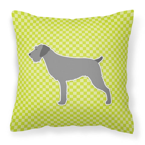Buy this German Wirehaired Pointer Checkerboard Green Fabric Decorative Pillow BB3811PW1818