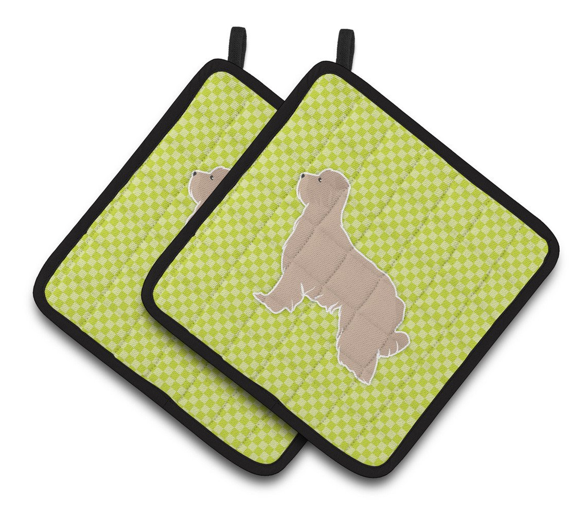 Pyrenean Shepherd Checkerboard Green Pair of Pot Holders BB3818PTHD by Caroline's Treasures