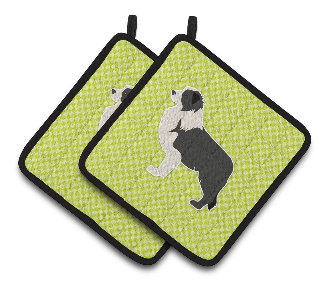 Black Border Collie Checkerboard Green Pair of Pot Holders BB3823PTHD by Caroline's Treasures