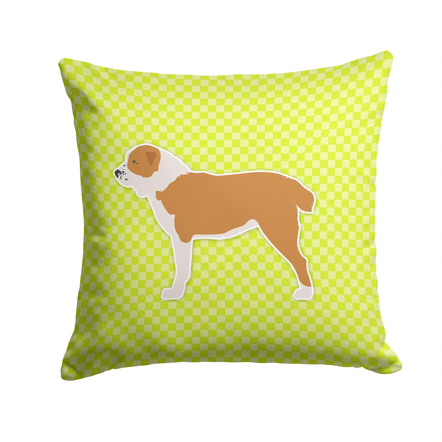 Central Asian Shepherd Dog Checkerboard Green Fabric Decorative Pillow BB3828PW1414 by Caroline's Treasures