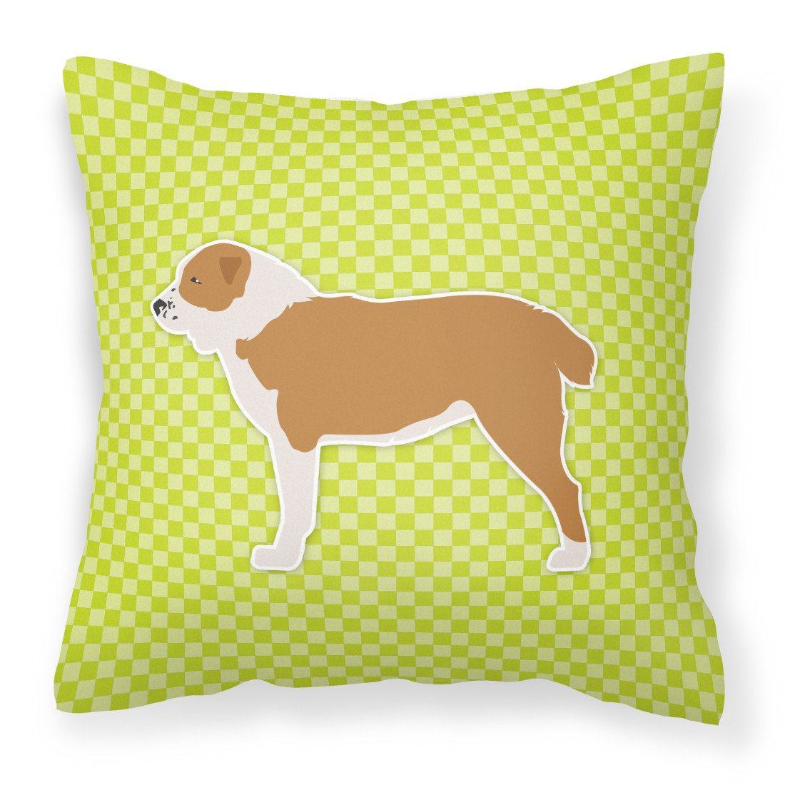 Central Asian Shepherd Dog Checkerboard Green Fabric Decorative Pillow BB3828PW1818 by Caroline's Treasures
