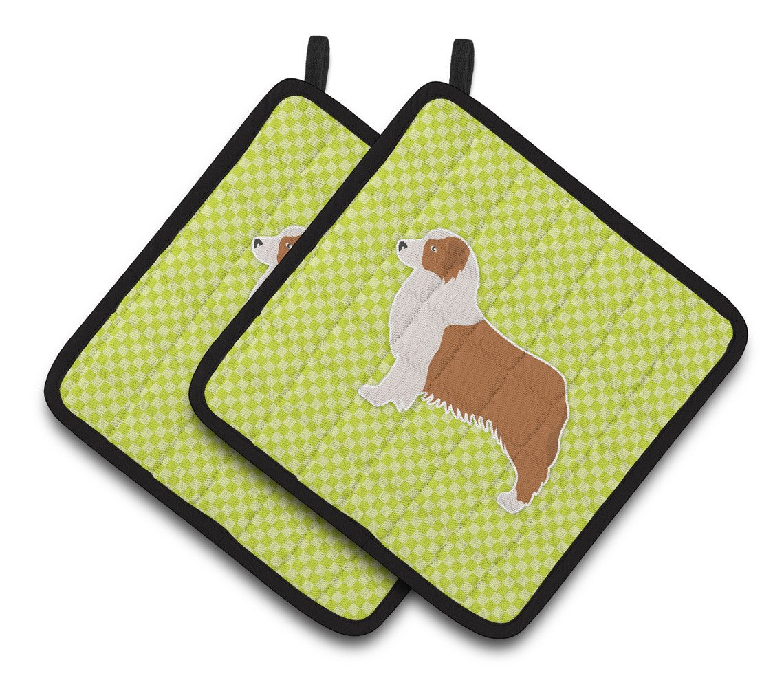 Buy this Australian Shepherd Dog Checkerboard Green Pair of Pot Holders BB3833PTHD