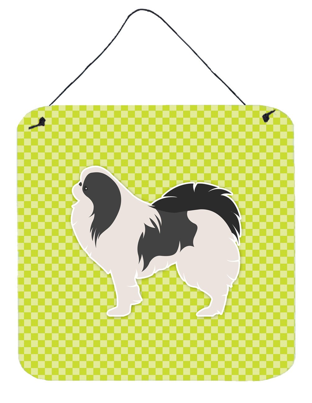 Japanese Chin Checkerboard Green Wall or Door Hanging Prints BB3837DS66 by Caroline's Treasures
