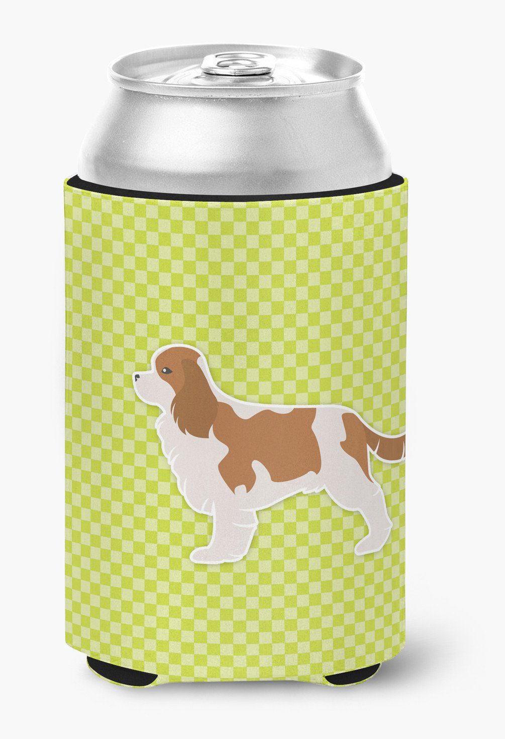 Cavalier King Charles Spaniel Checkerboard Green Can or Bottle Hugger BB3849CC by Caroline's Treasures
