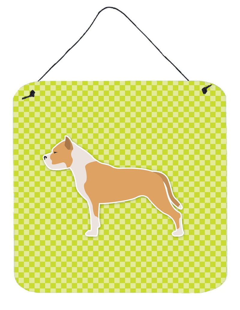 Buy this Staffordshire Bull Terrier Checkerboard Green Wall or Door Hanging Prints BB3854DS66