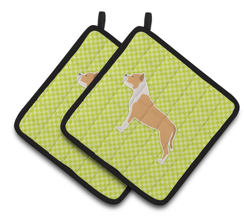 Buy this Staffordshire Bull Terrier Checkerboard Green Pair of Pot Holders BB3854PTHD