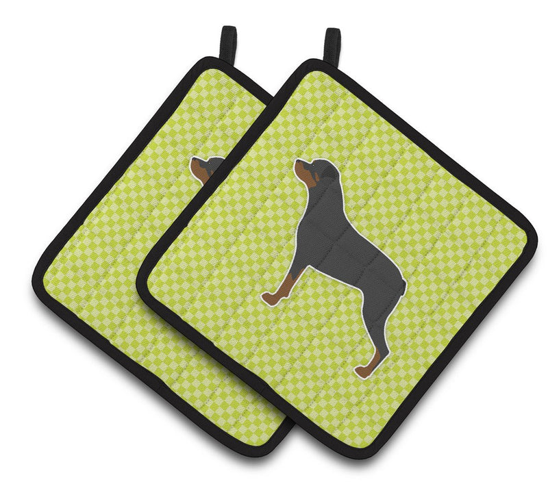 Buy this Rottweiler Checkerboard Green Pair of Pot Holders BB3866PTHD