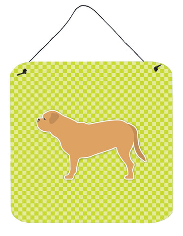 Buy this Dogue de Bordeaux Checkerboard Green Wall or Door Hanging Prints BB3870DS66