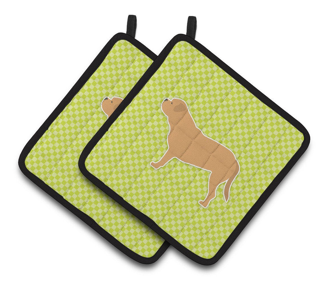 Dogue de Bordeaux Checkerboard Green Pair of Pot Holders BB3870PTHD by Caroline's Treasures
