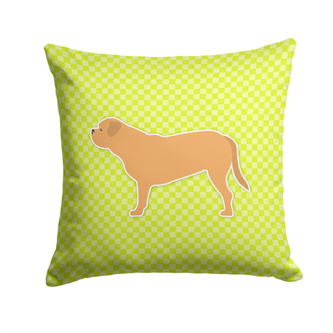 Buy this Dogue de Bordeaux Checkerboard Green Fabric Decorative Pillow BB3870PW1414