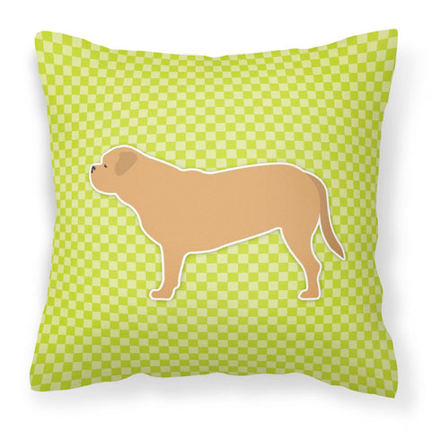 Buy this Dogue de Bordeaux Checkerboard Green Fabric Decorative Pillow BB3870PW1818