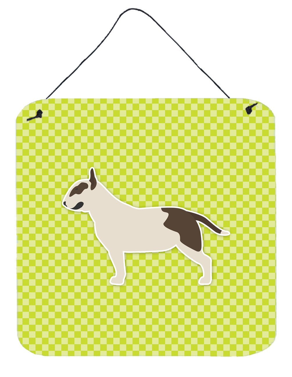 Buy this Bull Terrier Checkerboard Green Wall or Door Hanging Prints BB3878DS66
