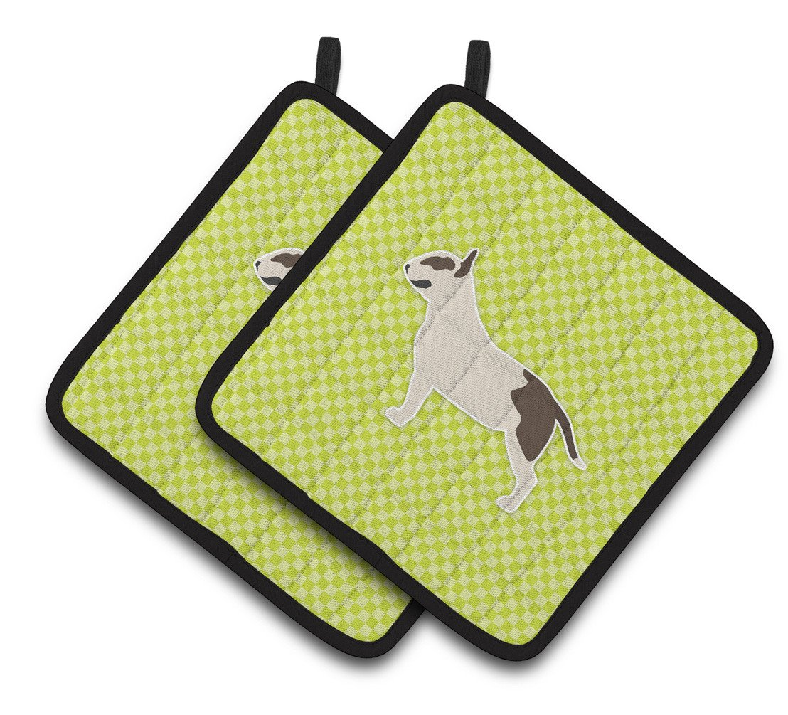 Buy this Bull Terrier Checkerboard Green Pair of Pot Holders BB3878PTHD