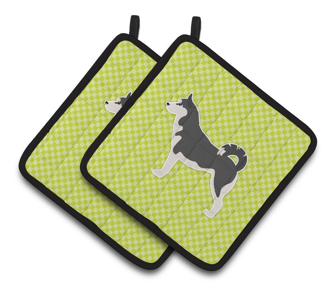 Siberian Husky Checkerboard Green Pair of Pot Holders BB3880PTHD by Caroline's Treasures
