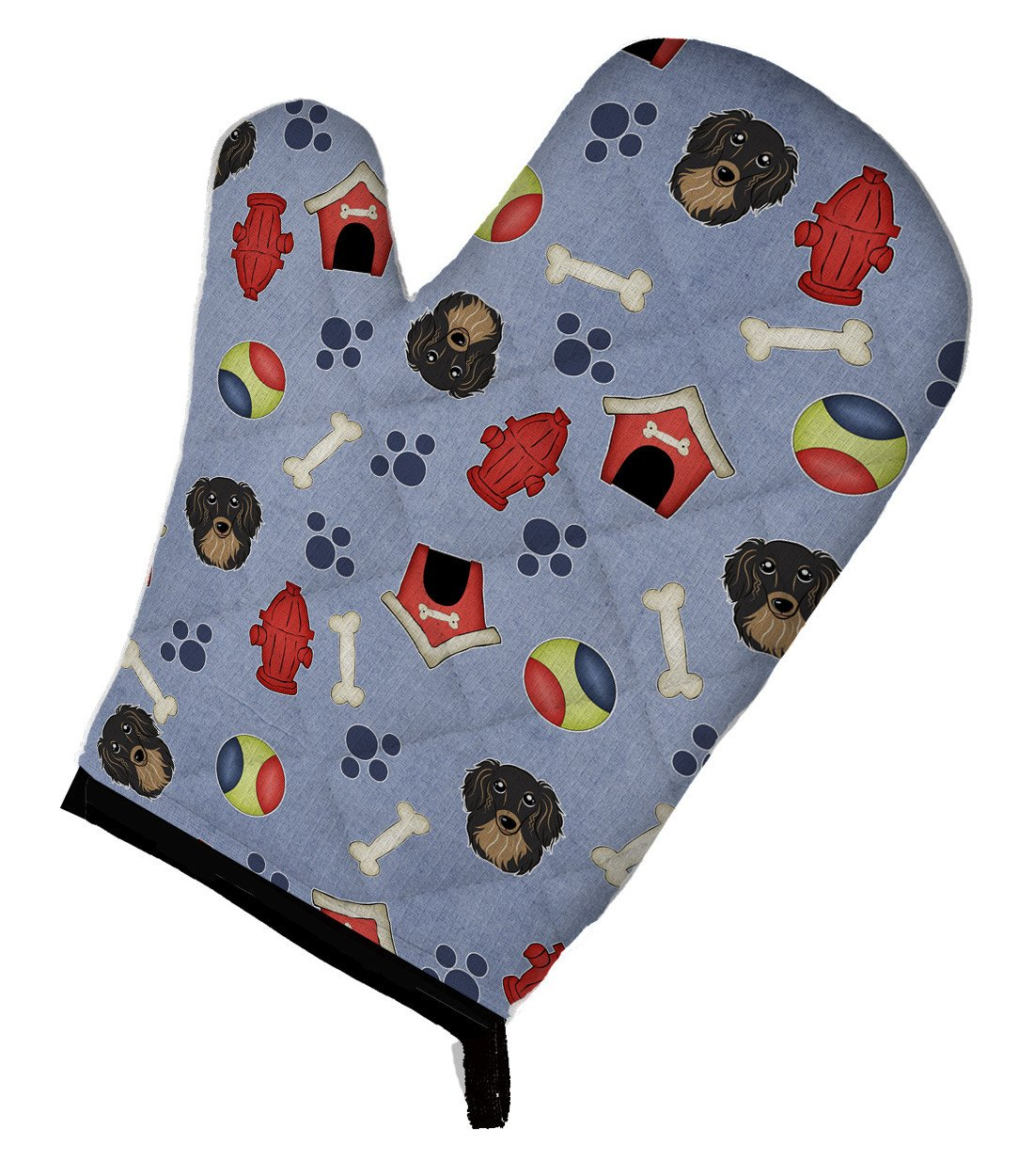 Buy this Dog House Collection Longhair Black and Tan Dachshund Oven Mitt BB3992OVMT