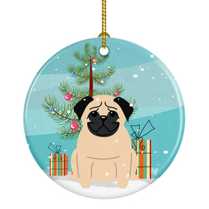 Buy this Merry Christmas Tree Pug Fawn Ceramic Ornament BB4133CO1