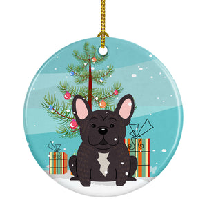 Buy this Merry Christmas Tree French Bulldog Brindle Ceramic Ornament BB4134CO1