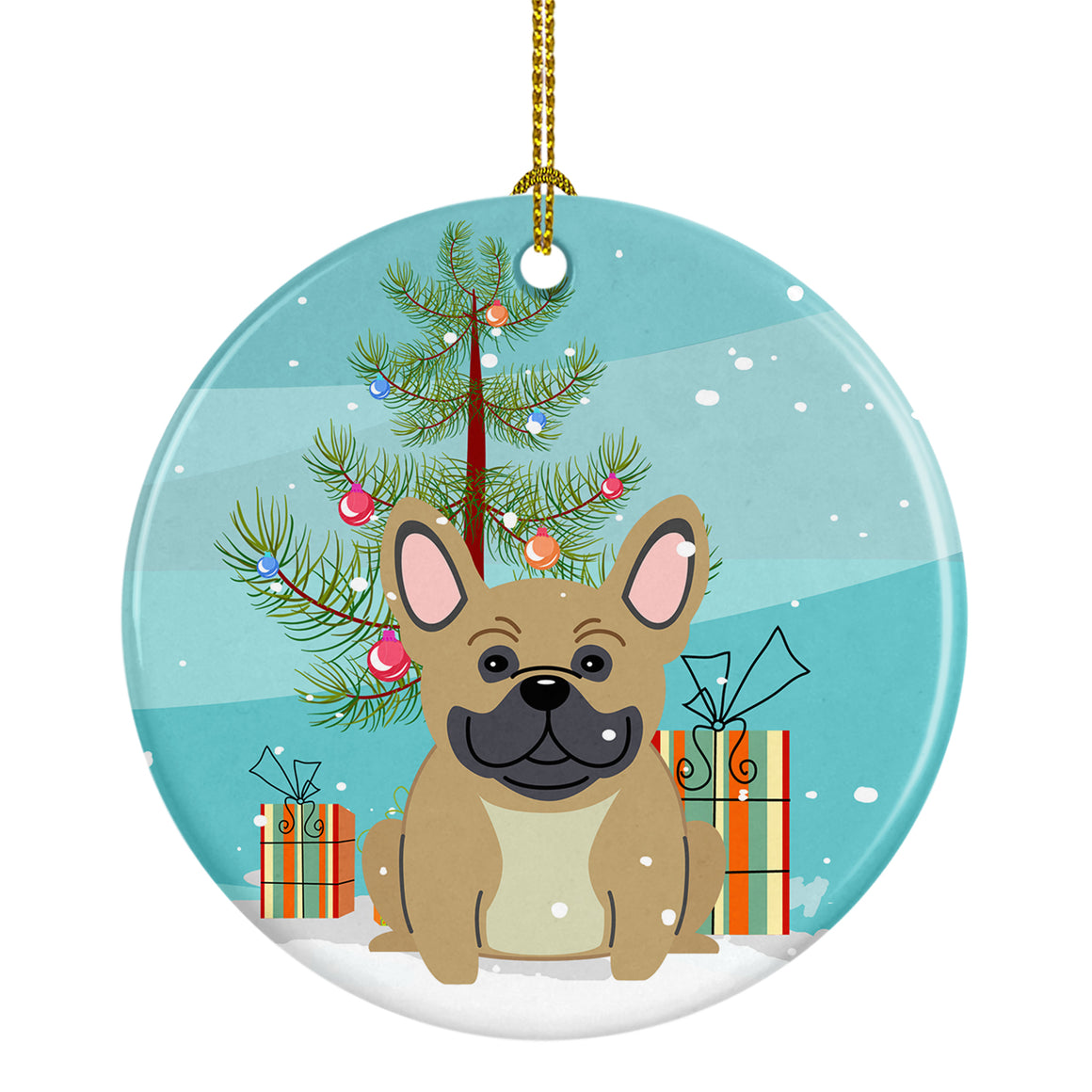 Buy this Merry Christmas Tree French Bulldog Cream Ceramic Ornament BB4135CO1