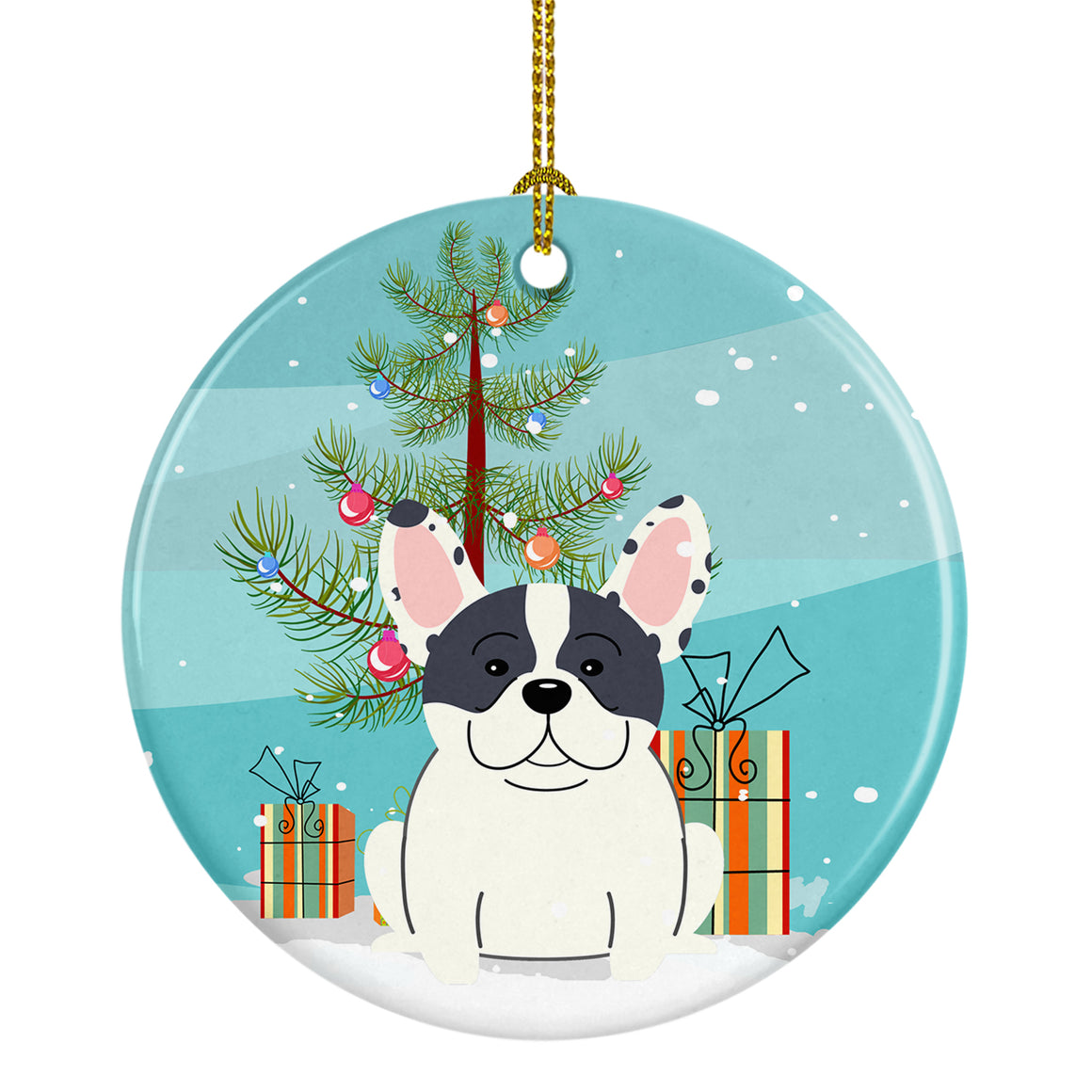 Buy this Merry Christmas Tree French Bulldog Piebald Ceramic Ornament BB4136CO1