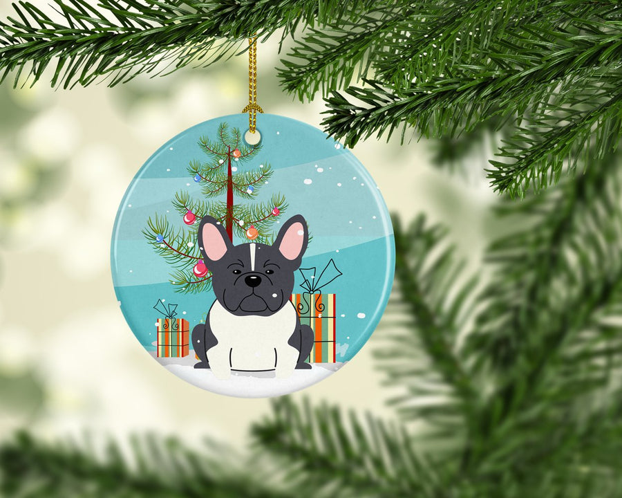 Buy this Merry Christmas Tree French Bulldog Black White Ceramic Ornament BB4137CO1