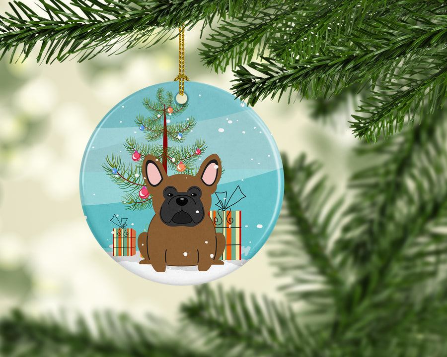 Buy this Merry Christmas Tree French Bulldog Brown Ceramic Ornament BB4138CO1
