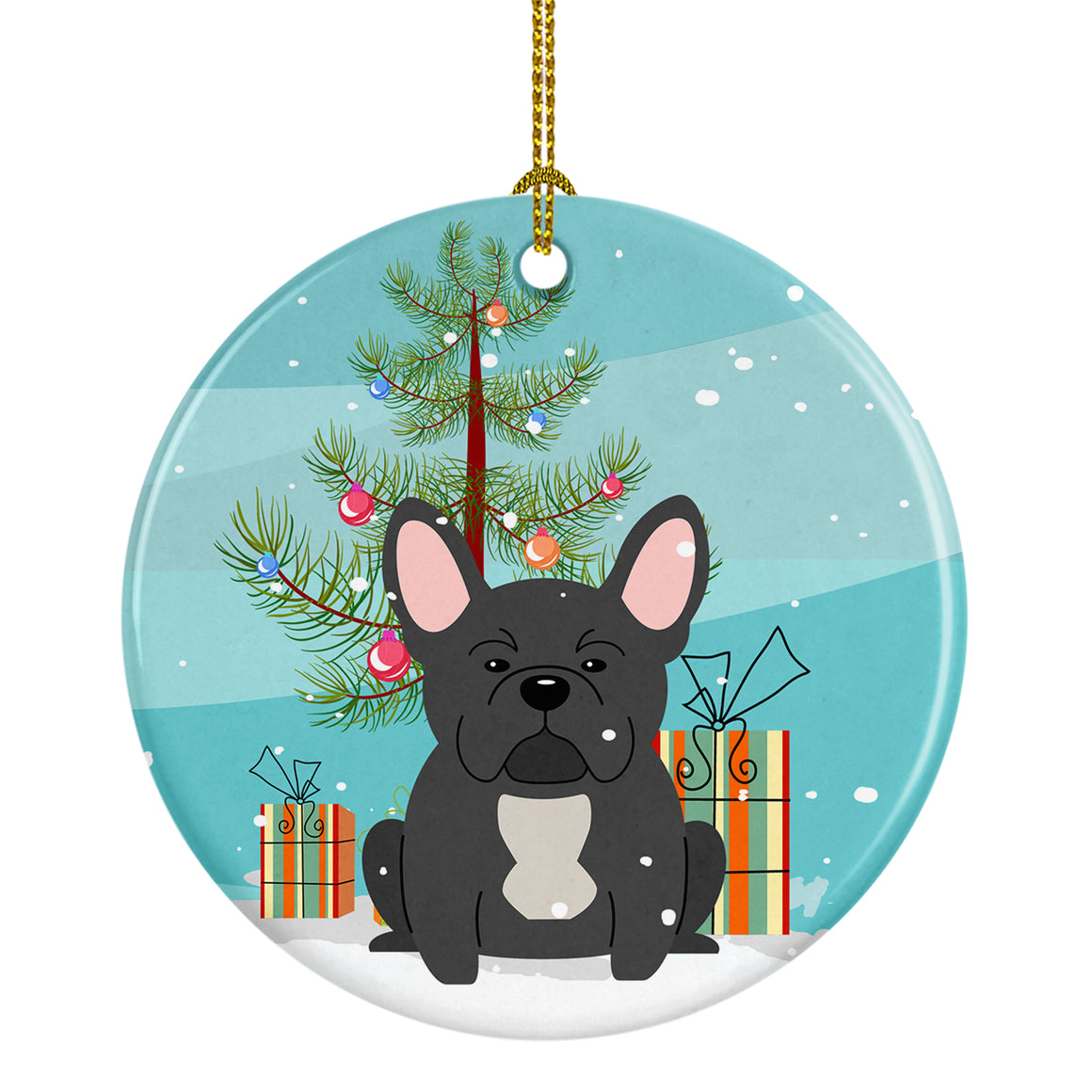 Buy this Merry Christmas Tree French Bulldog Black Ceramic Ornament BB4139CO1